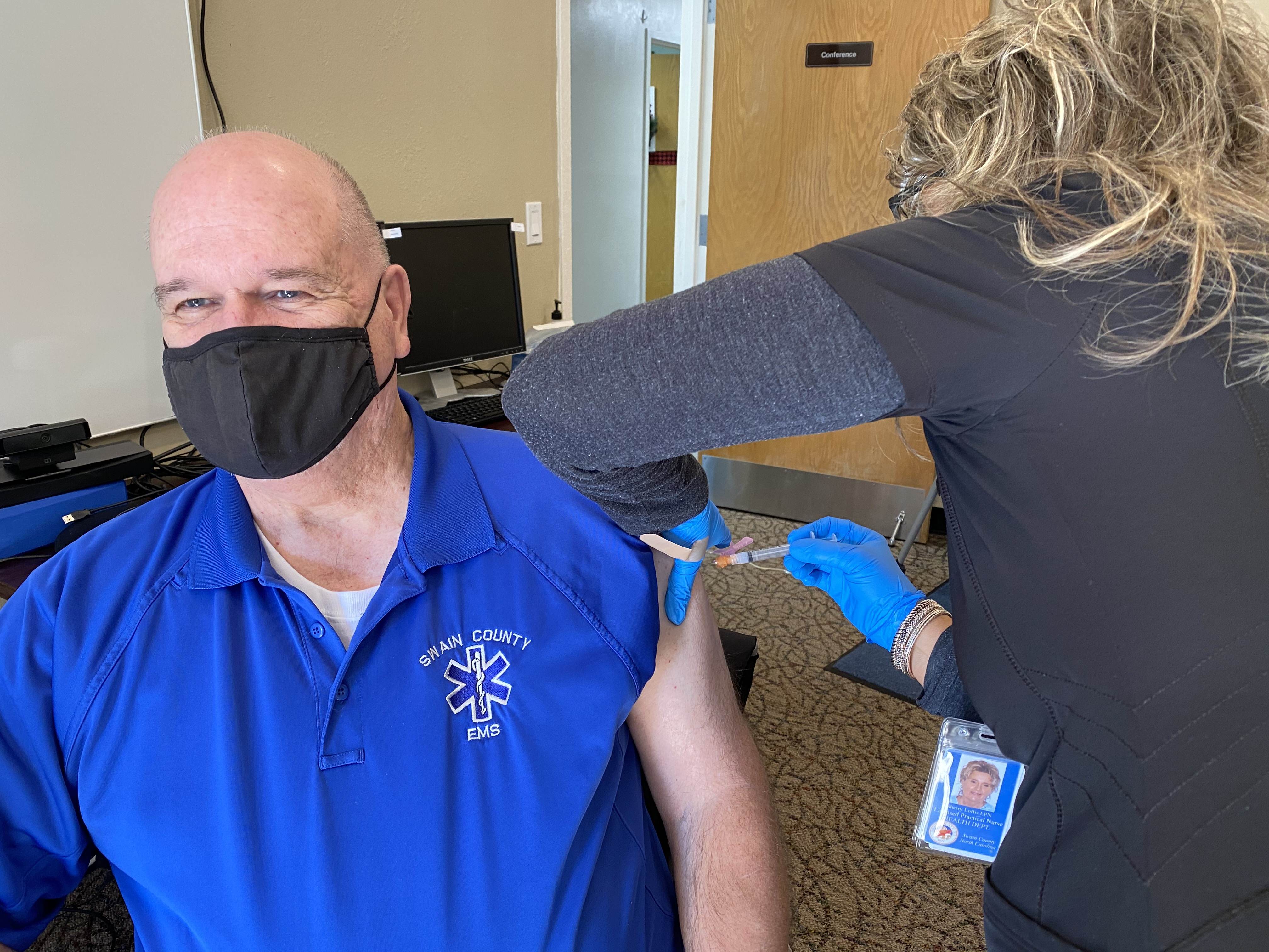 Swain County Health Department shared this photo of David Breedlove, Emergency Management Director, receiving the COVID-19 vaccine on Tuesday, Dec. 29.