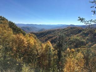 A landscape view with Smokies and fall color