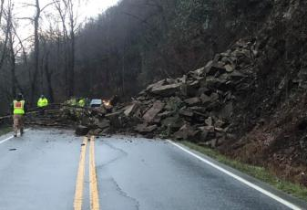 A landslide across 19/74 closed the road Saturday