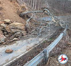 A landslide on NC28 and a tree blocks the road