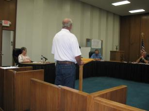 Mark Day speaks before the town board