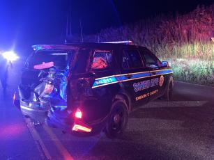 An alleged drunk driver crashed into the back of a Swain County Sheriff's Deputy vehicle