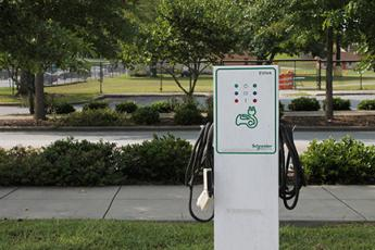 This electric charging station is located at the Cherokee Visitors Center