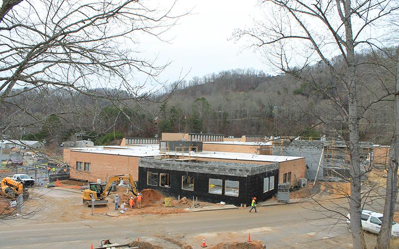 The exterior walls are up for a counseling suite at Swain County High School. The construction project, which also includes two new classrooms and administration, is on schedule.