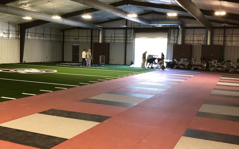 weights area and turf