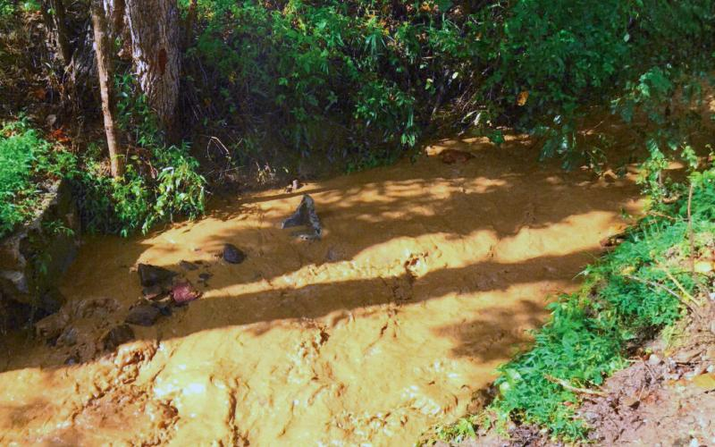 A tributary on East Alarka overflowed and ran brown just after a heavy rain this summer.