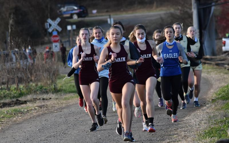 Lady Devils lead a pack of runners at the recent meet at Kituwah